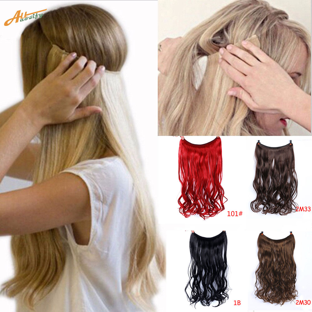 Allaosify Hairpieces Secret-Fish-Line No-Clips Invisible-Wire Wavy Straight Synthetic