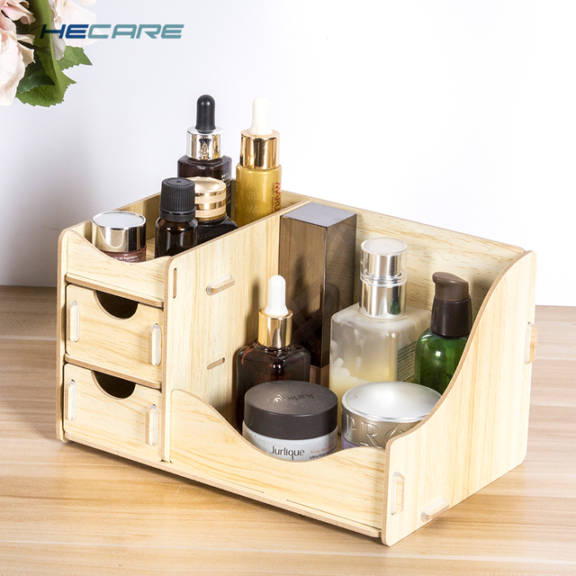 HECARE Wooden Box Storage Box for Cosmetics Wood Makeup Organizer for Storing Cosmetics Storage Organizer Drawer Organizer New 1