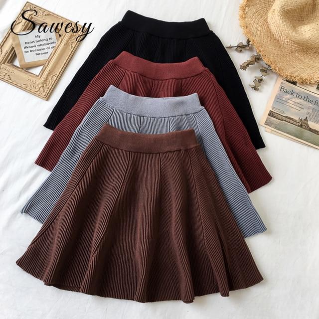 8ae2d65ac53e2 Knitted Pleated Mini Skirts Womens Fashion 2018 Autumn Elastic High Waist  Ladies Skirts Streetwear A Line