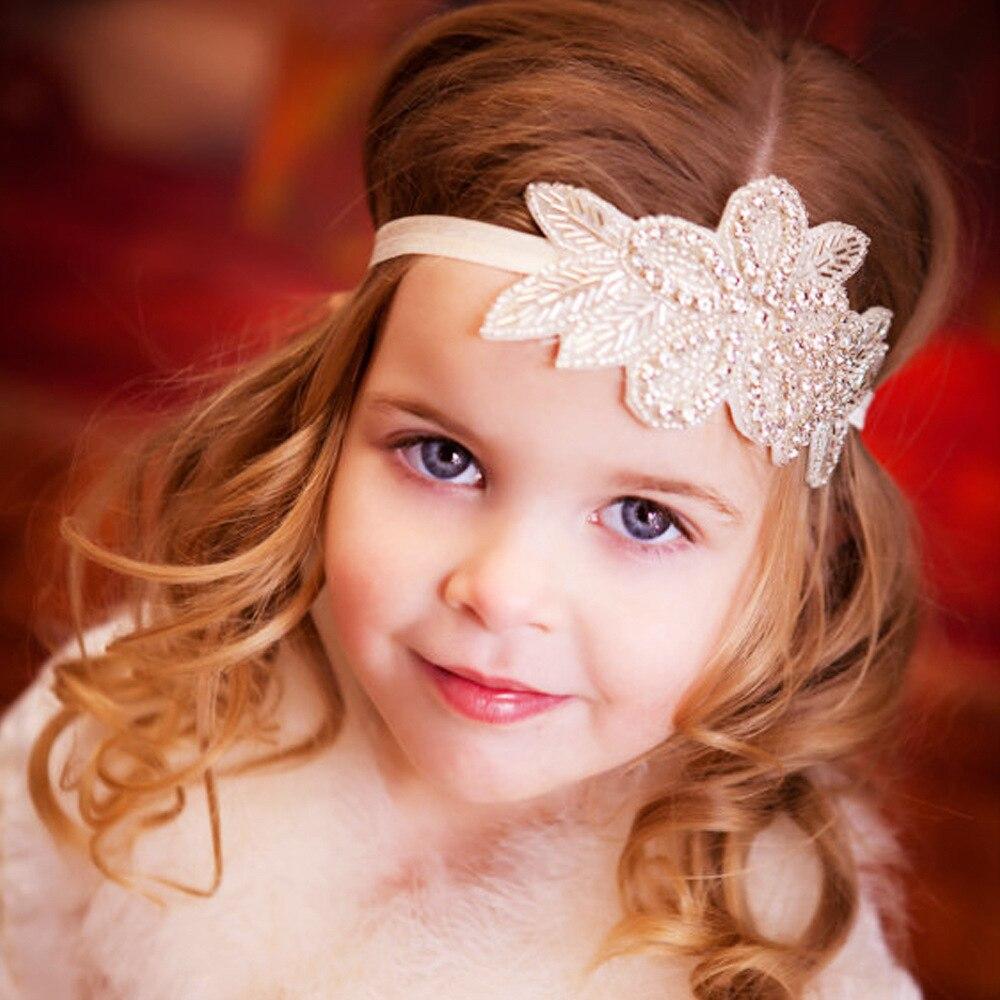 Bébé Fille Bandeau Baptême Enfants Bandeau Bandeau Bijoux de cheveux strass fleur