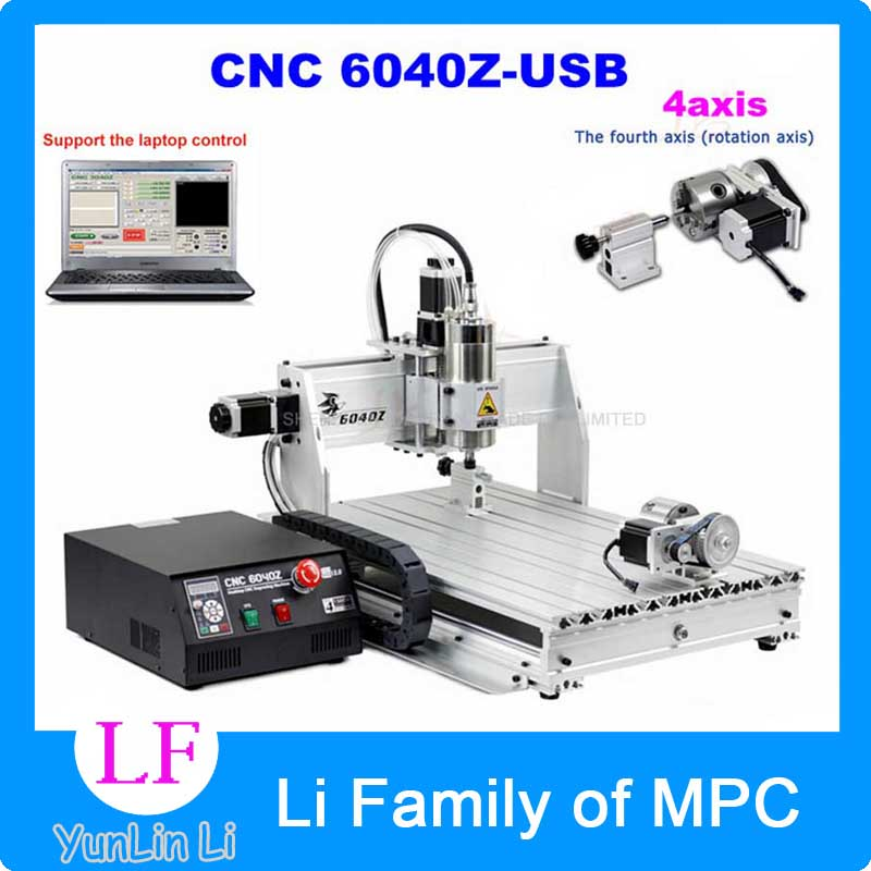 4axis CNC Router 6040Z-USB Mach3 auto engraving machine with 1.5KW VFD spindle and USB port for hard metal 1pc 4axis cnc router 6040z usb mach3 auto engraving machine with 1 5kw vfd spindle and usb port for hard metal