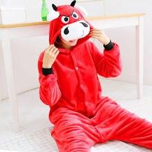 Flanel Cosplay Pajama Sets Dames Paar Kleding Familie Anime Pyjama Pyjama  Womens Nachtkleding Stier kostuum Pyjama 7a685efcd