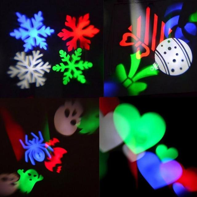 Colorful Christmas Projector Light Outdoor Holiday LED Stage Snowflake Projection Garden Decoration Pattern Cards EU Plug 1