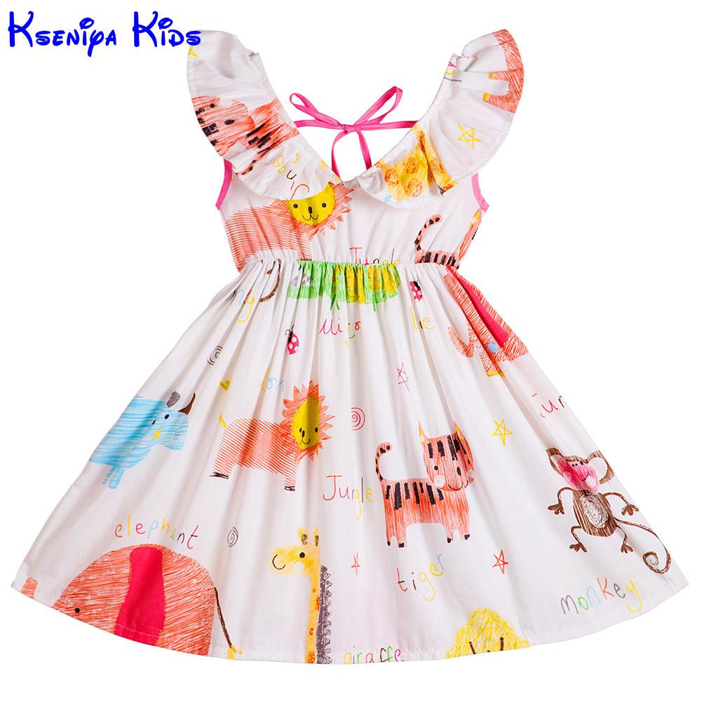 Kseniya Kids Big Little Girls Dresses White V Flower Neck Animal Print Cotton Cute Girl Princess Sleeveless Party Dress 2-14y v neck black white stripe sleeveless irregular dress