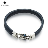 Blue Double layer of the first layer of leather bracelet 925 Sterling Silver Bracelets SCNP005