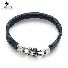 Синий двойной слой первый слой кожаный браслет 925 Браслеты стерлингового серебра SCNP005