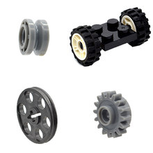 10pcs/lot MOC Mechanical Gearwheel Pulley Car Rubber Tire Wheels Part Building Blocks Toys for Children(China)