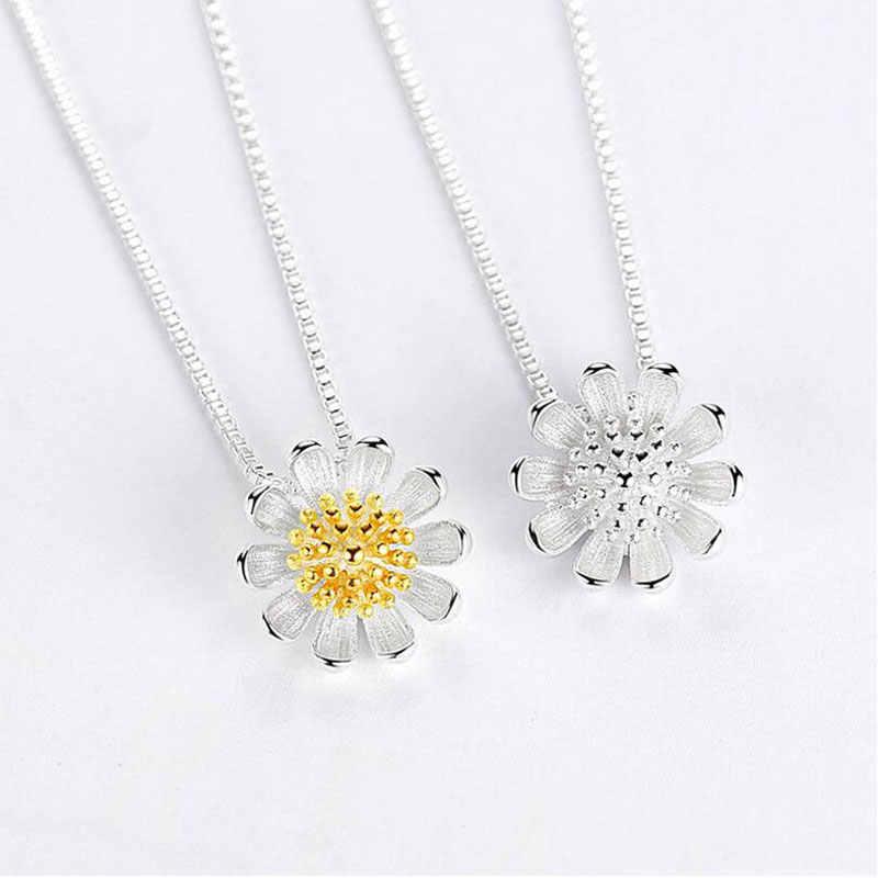 ANENJERY 925 Sterling Silver Jewelry Sets Sunflower Daisy Flower Necklace+Earrings+Bracelet+Ring For Women Girl Gift