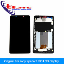 100% Original For Sony for Xperia T LT30 LT30a LT30at LT30p , Touch Glass Screen lcd Display assembly with Frame + free shipping