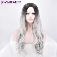 ALEGRIA & BELEZA Ondulado Longo Peruca de cabelo Sintético de Fibra de Alta Temperatura preto cinza Cor 22 inch Para as mulheres Peruca