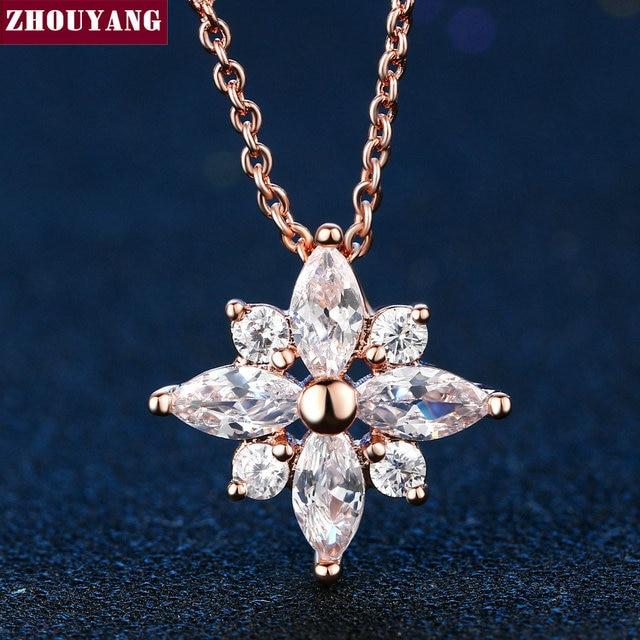 Di alta Qualità di Cristallo Fiocco di Neve Collana In Oro Rosa di Colore Dei Monili di Modo Libero Del Nichel Pendente di Cristallo ZYN400 ZYN401