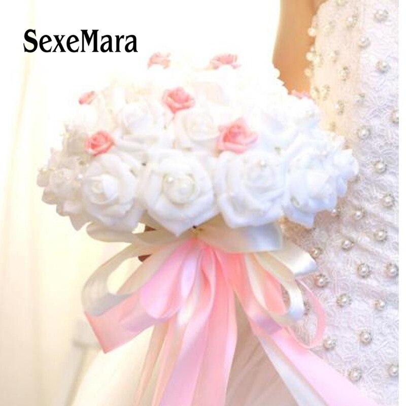 2018 Bianco Rosa Artificiale Bouquet Da Sposa Con Perle Da Sposa Damigelle Mazzi Di Fiori Ragazza Di Fiore Bouquet Aspetto Elegante