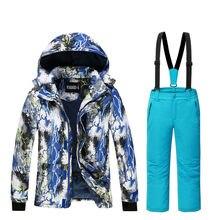 Étanche Garçons ou Filles Combinaison De Ski Enfant Veste de Ski Pantalon Coupe-Vent de Neige Veste-30 Degrés KL-7082