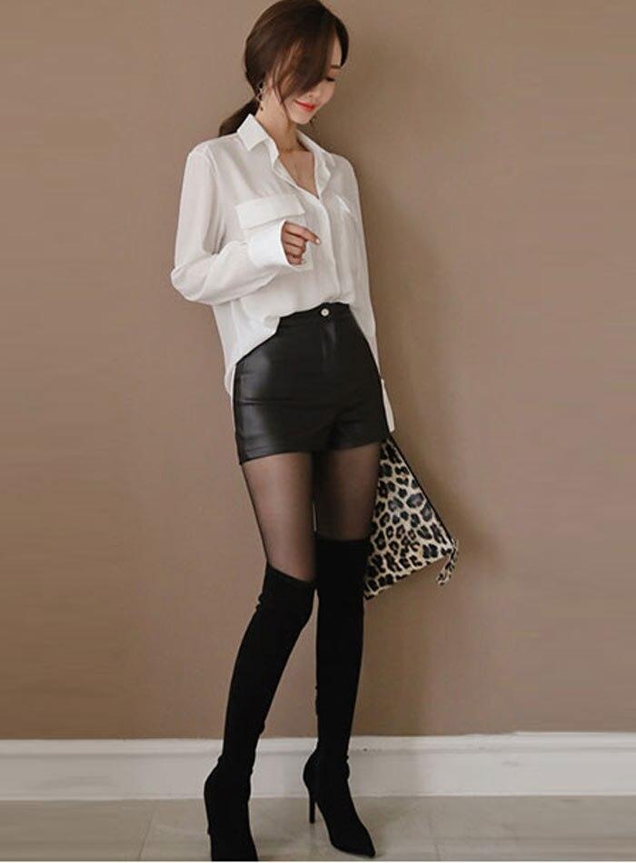 High Waist PU Leather Shorts Korean Fashion Black Spring Autumn Women Shorts Cool Skinny Work Party Wear Female Shorts 25