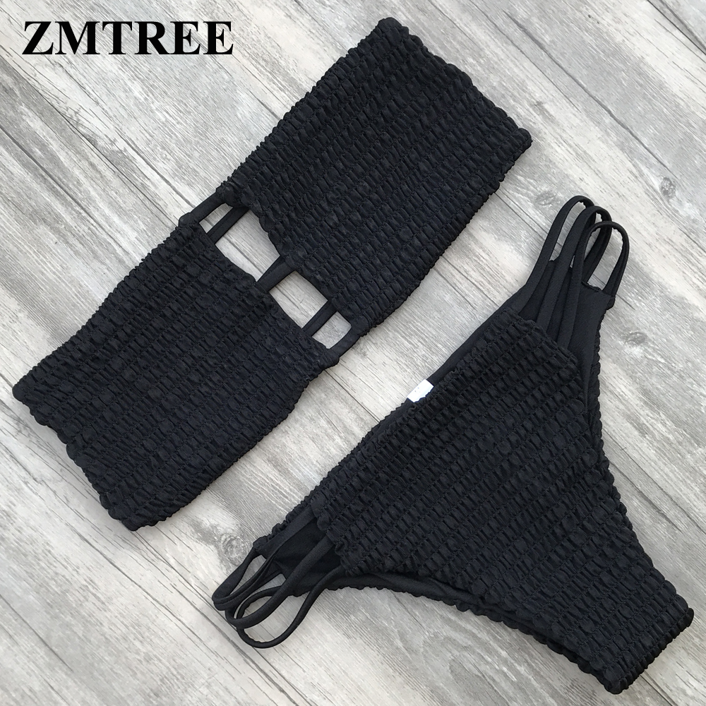 ZMTREE New Biquini Top Bra Swimwear Women Bandeau Bikinis Set Strapless Bathing Suit Wrinkled Swimsuit Cami Smocked Bikini 2018 ...