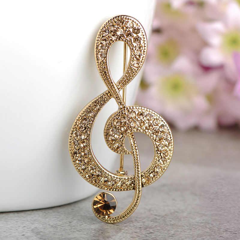 FUNMOR Изысканная музыкальная брошь золотого цвета с кристаллами Броши для женщин подарок для музыкального концерта рутинные ювелирные изделия нагрудные булавки