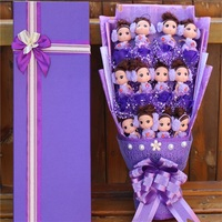 Fashion silicone confused baby dolls cartoon flower bouquet gift box best gift for girl creative Graduation/Valentine's Day gift