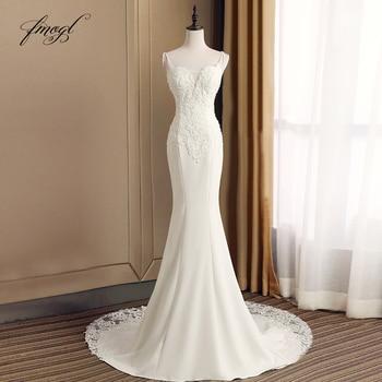 Fmogl Sexy Sweetheart Mermaid Wedding Dress 2021 Appliques Beaded Spaghetti Straps Trumpet Bride dresses Vestido De Noiva - discount item  16% OFF Wedding Dresses