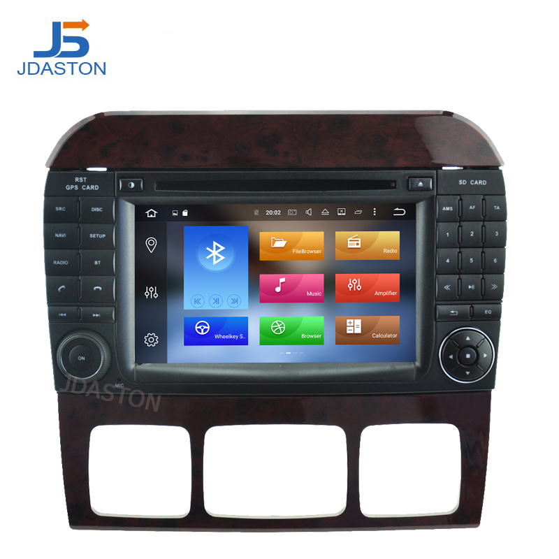 JDASTON 2 Din 7 Inch Android 8.0 Car DVD Player For Mercedes Benz W220 S Class S320 S350 S400 S500 W215 4G RAM WIFI Radio GPS 1 pair for 92 02 mercedes w220 s320 s430 s500 w215 led mirror turn signal light smoke