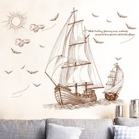 Cartoon Pirate Ship Sailing Wall Stickers For Kids Rooms Boys Removable Vinyl PVC Decal DIY Art