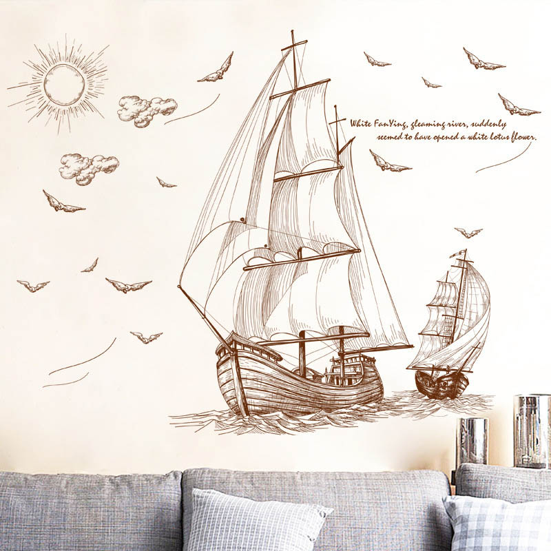 Pirates Kids Wall Decal: Cartoon Pirate Ship Sailing Wall Stickers For Kids Rooms