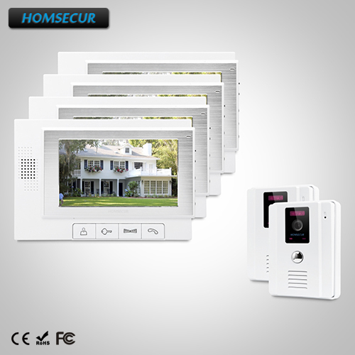 HOMSECUR 7 Wired Video&Audio Home Intercom+One Button Unlock for Home Security TC011-W + TM702-W