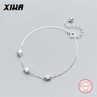 XIHA Fijne Sieraden 925 Sterling Zilveren Armband Bangles Geometrische Rhinestone Crystal Verstelbare Zilveren Armband voor Vrouwen