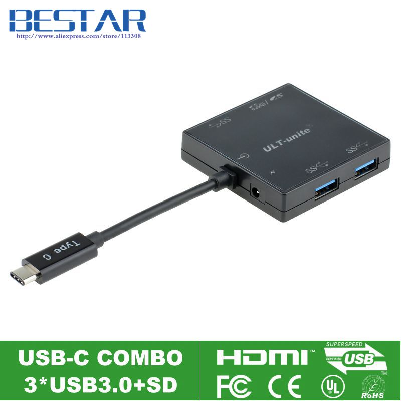 USB Type-c USB-C To USB3.0 Combo with 3X USB 3.0 Ports 1X SD Card Slot and 1X MicroSD Card Slot,Type-C Hub + Card Reader usb c lan hub type c to hdmi male 3hz type c pass through ethernet sd micro card reader and 3 usb 3 0 ports 10 pieces lot