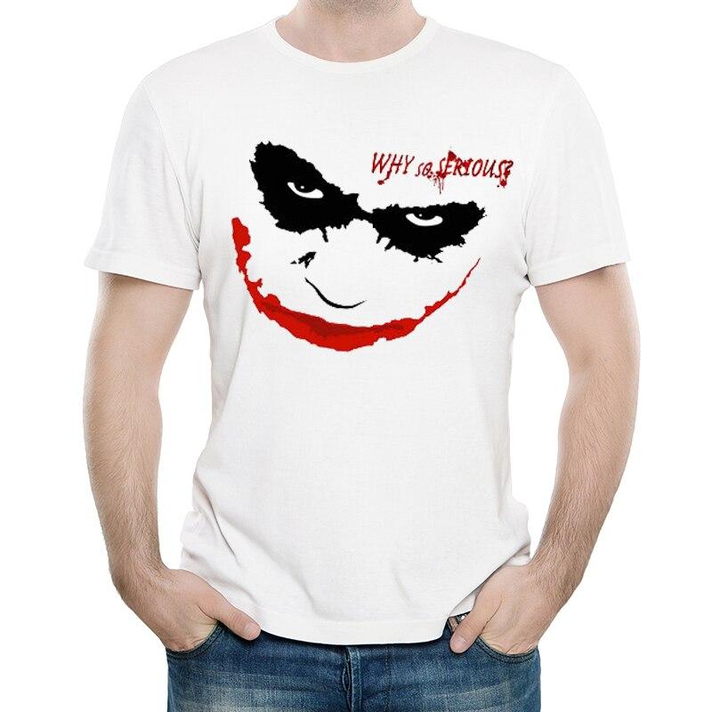 New Printing Clown Joker T-Shirt Short White Heath Ledger Why So Serious T Shirt Tees Top For Men Women Why So Serious
