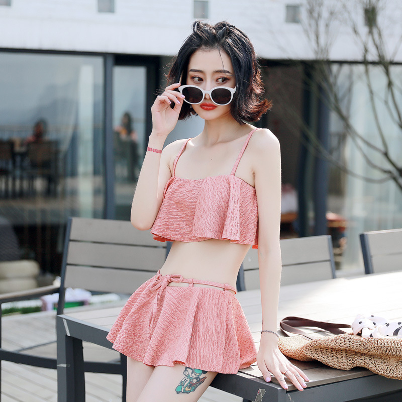 Swimsuit Womens Beach 2018 May Swim Wear Bikini Set Split Swimwear Women Female Suits Bath Womens Korean Sexy Pants Polyester