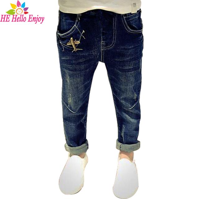 He hello enjoy jeans meninos primavera 2017 da marca new casual crianças jeans para meninos Denim rasgado calças skinny adolescentes crianças calças de brim
