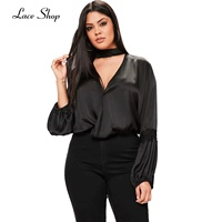 Laceshop Fashion New Women Plus Size Clothing Solid Color Contrast V Neck Top Lantern Sleeve Loose