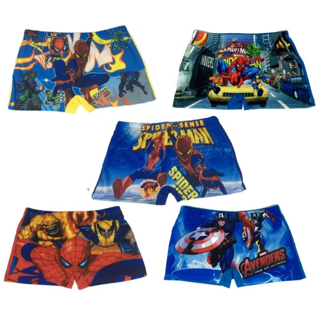 3-10 Years Children Captain America Spiderman swim Trunks , Kids Cartoon swimming trunks swim wear shorts bathing Beach Pant M L