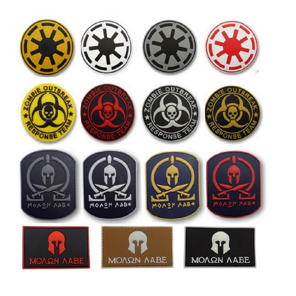 2pcs/lot 3D PVC Superman patches loops and hook Spartan Helmet patches Biochemical skeleton patches