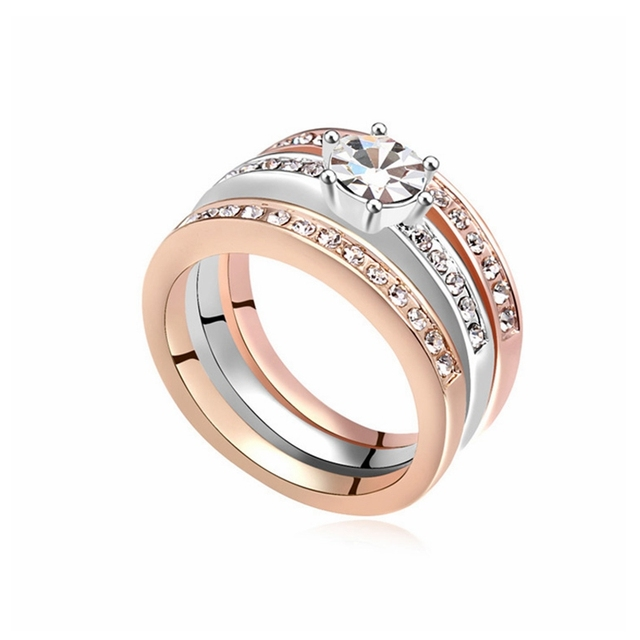 2017 design three in one ring for women fashion luxury wedding rings jewelry - Luxury Wedding Rings
