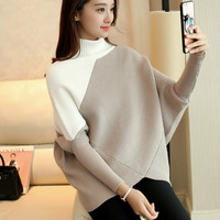 2016 Autumn Winter Turtleneck Sweater Women Loose High Collar Bat Shirt Sweater Women S Bottoming Sweater