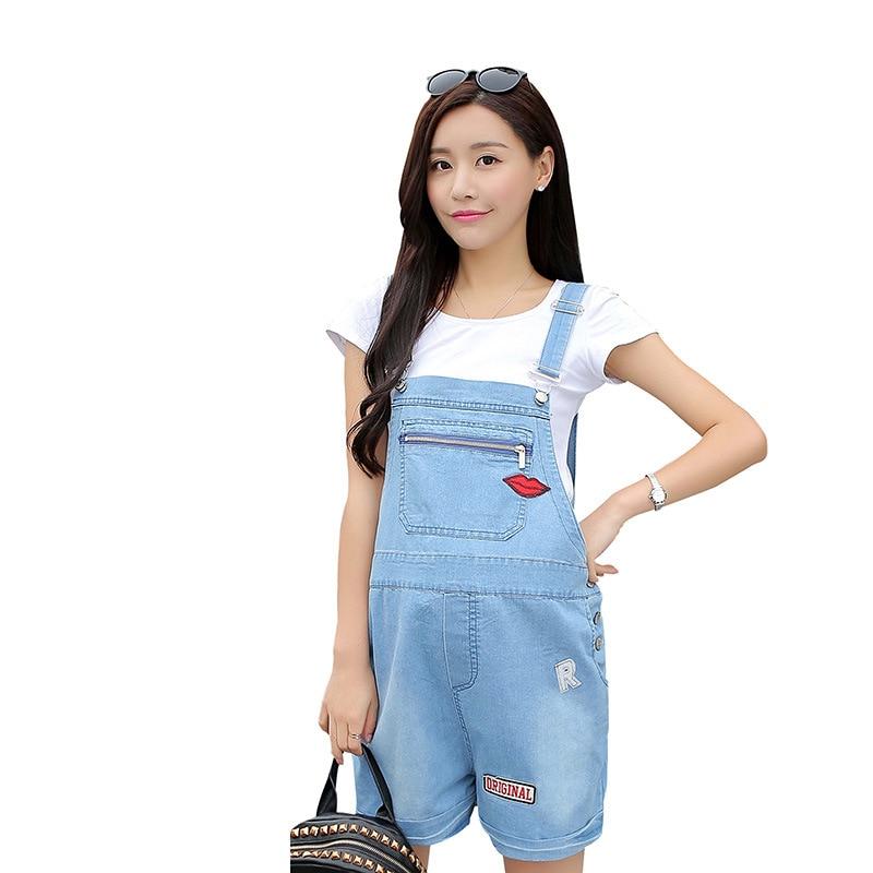 ФОТО Summer New Red Lip Pregnant Women Denim Straps Shorts Zipper Pocket Pregnancy Nursing Clothes Maternity Jeans Suspender Shorts