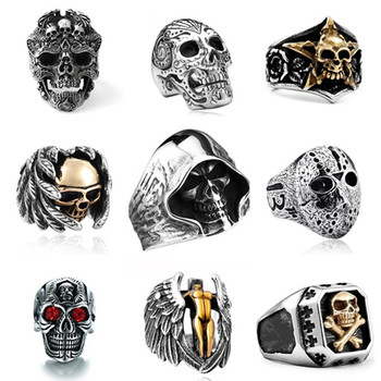 Men Stainless Steel Ring Vintage Hip Hop Skull Rings For Men Steampunk Jewelry Accessories 2019 Gothic Punk Rings Drop Shipping