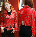 female rivet red leather jacket  DS costumes dance Christmas singer stage outfit stunning Sequin dancer show performance bar