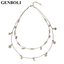 GENBOLI Star Moon Necklace Jewelry Accessory Multi Chain Adjustable Length Women Wedding Dinner Party for Gift Bohemian Style