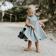 Girls Cotoon Linen Dresses 2109 Toddler Children Clothing Summer Dress Baby Kids Short Sleeve Ruffle Long E0311