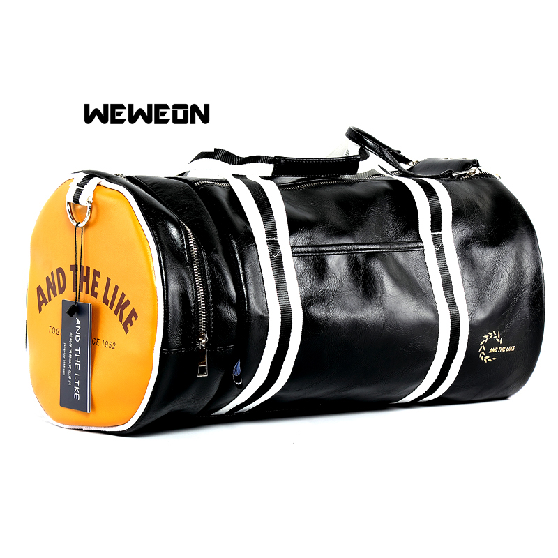 Men's Large Capacity PU Leather Sports Bag Gym Bag Fitness Sport Bags Leather Duffel Tote Travel Shoulder Handbag Male Bag bolsa