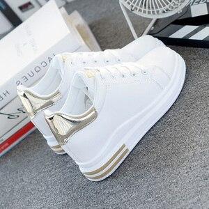 Image 3 - SWYIVY, zapatos informales de microfibra, zapatillas de deporte para mujer, zapatos blancos, zapatillas de plataforma de primavera 2020 para mujer, nuevos zapatos de mujer
