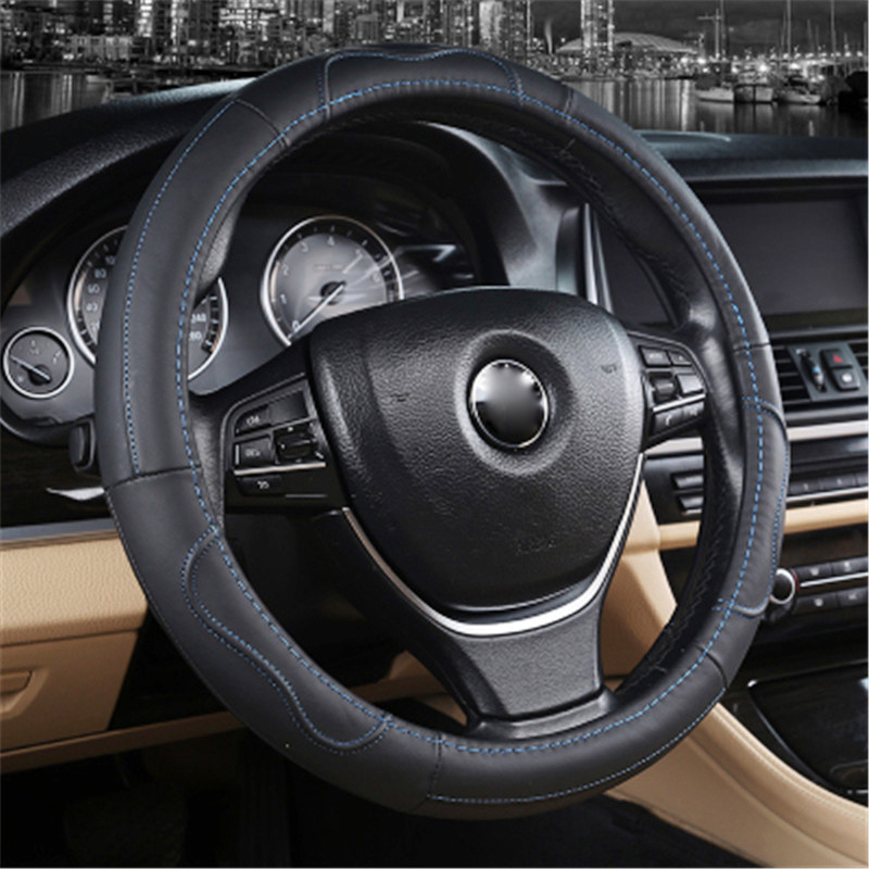 For BMW F30 E36 E46 For VW Volkswagen Passat B5 B7 Car Steering Wheel Cover Black Leather 38CM general Sport Volante Car Styling