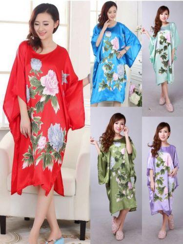 Women's Sleepwear Robe Bat Long Pyjama Night Dress Sleep Oriental Kaftan Nightwear gown Peony Print  Night Dress women's Kimono