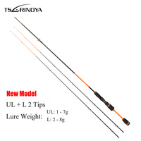 TSURINOYA 1.8M 2 Section Carbon Fiber Fly Fishing Rod Lure Weight 1 8g UL+L Luminous Tips Ultralight Night Fishing Spinning Rod