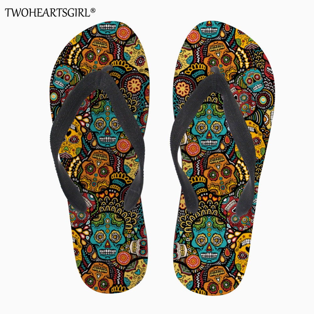 99c14e2b4203b US $11.19 20% OFF|Twoheartsgirl Mexico Skull Print Flip Flops Soft Rubber  Sole Flat Slippers for Women Casual Female Ladies Summer Beach Flipflops-in  ...