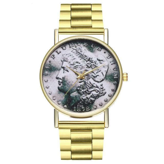 Morgan Dollar Coin Steel Strap Vintage Illustration Style Ladies Men Style Sport