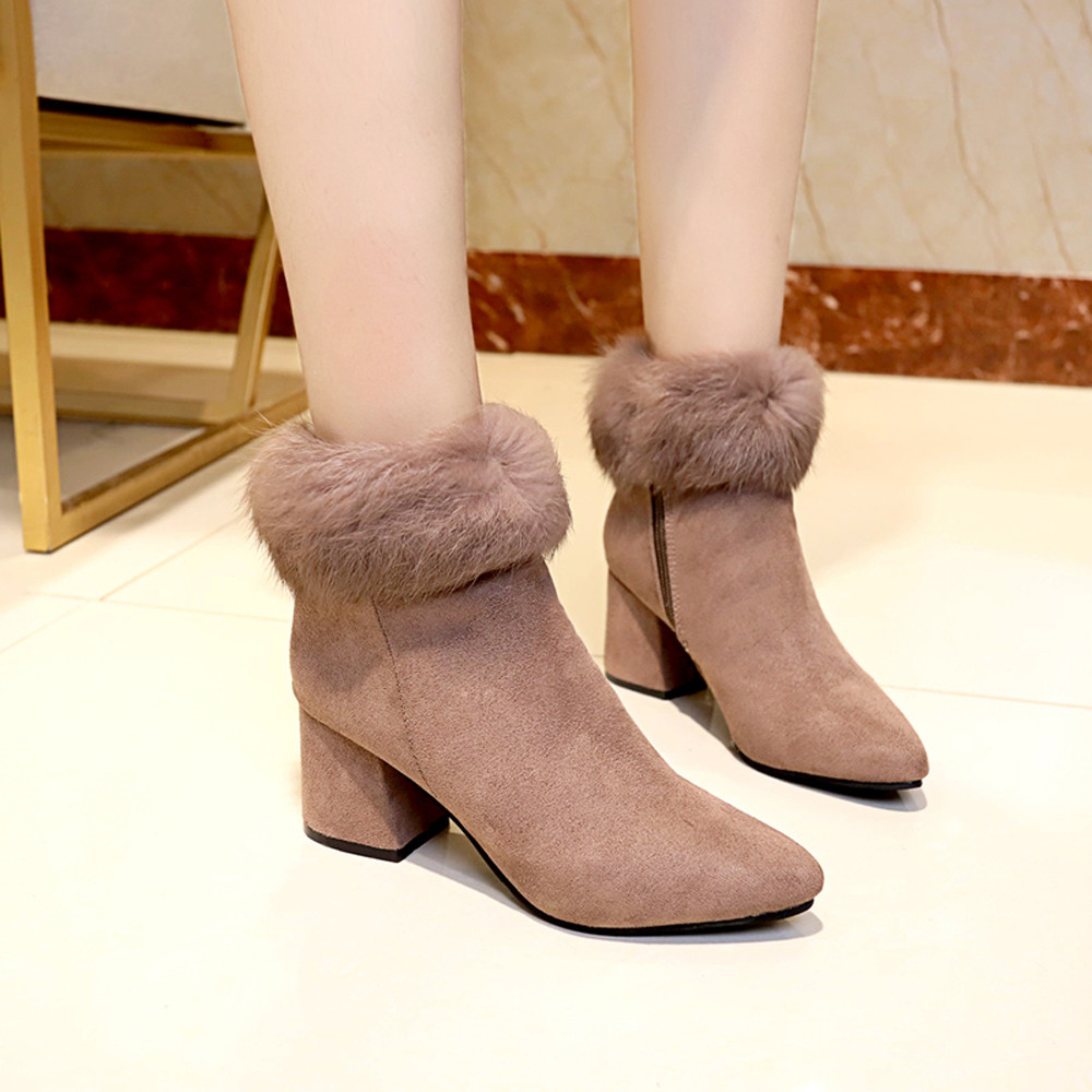 shoes Boots Women Suede Ladies Faux Warm Ankle Slip-On Boots Shoes Middle Heels Martin boots women 2018Nov1 44