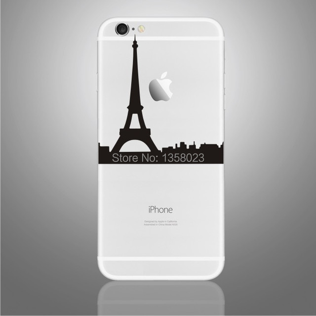 Eiffel tower design art decal vinyl case cover backside protector sticker skin for iphone 6 plus
